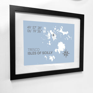 Tresco, Isles of Scilly Map Travel Print- Coastal Wall Art /Poster-SeaKisses
