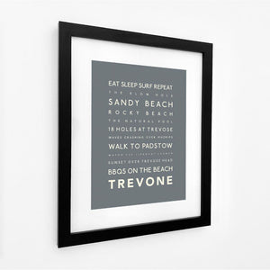 Trevone Typographic Travel Print- Coastal Wall Art /Poster-SeaKisses