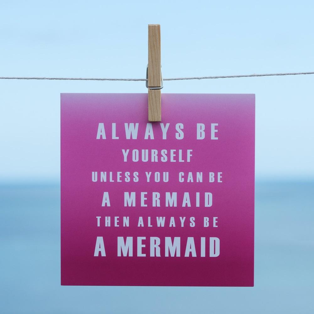 Mermaid Coastal Greeting Card by SeaKisses in Pink