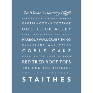 Staithes Typographic Seaside Print - Coastal Wall Art /Poster-SeaKisses