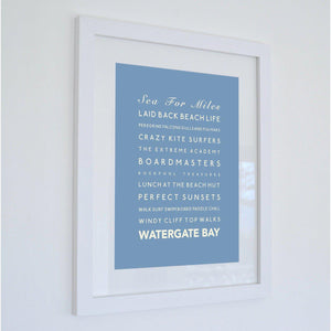 Watergate Bay Typographic Travel Print- Coastal Wall Art-SeaKisses