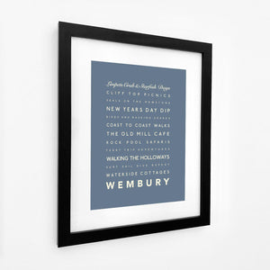 Wembury Typographic Travel Print- Coastal Wall Art /Poster-SeaKisses