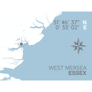 West Mersea Map Travel Print- Coastal Wall Art /Poster-SeaKisses