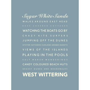 West Wittering Typographic Print- Coastal Wall Art /Poster-SeaKisses