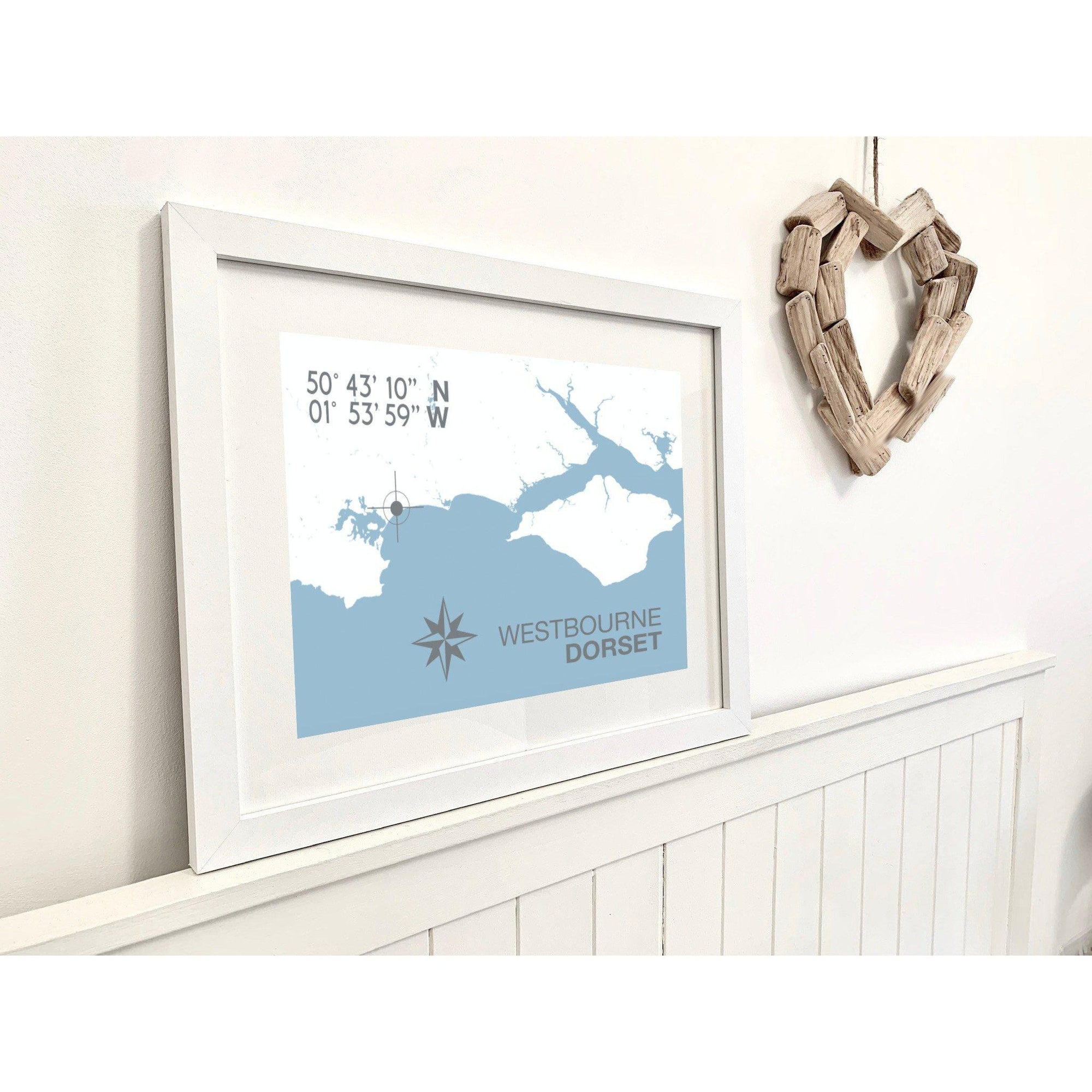 Westbourne Map Travel Print- Coastal Wall Art /Poster-SeaKisses