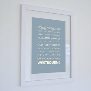 Westbourne Typographic Travel Print- Coastal Wall Art-SeaKisses