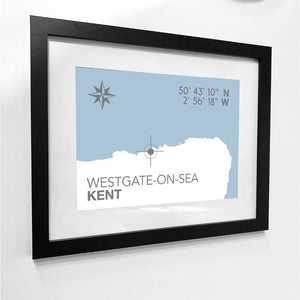 Westgate-on-Sea Map Seaside Print - Coastal Wall Art /Poster-SeaKisses