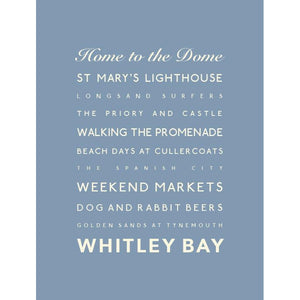 Whitley Bay Typographic Travel Print - Coastal Wall Art /Poster-SeaKisses