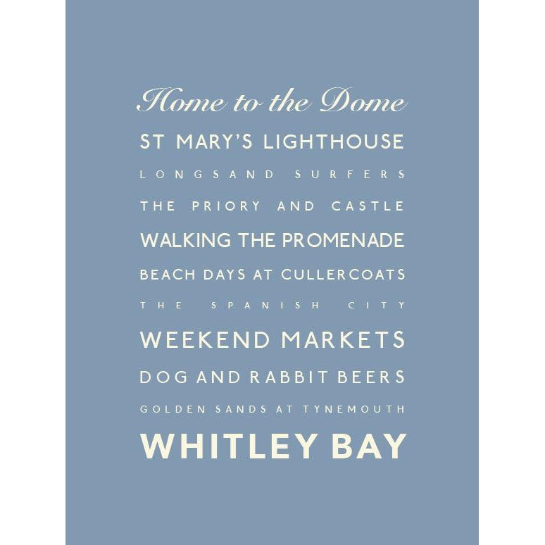 Whitley Bay Typographic Travel Print - Coastal Wall Art-SeaKisses