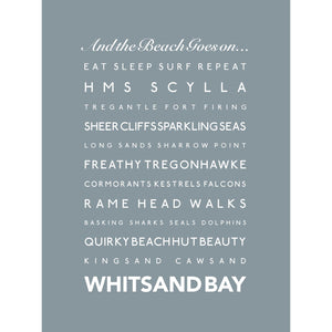 Whitsand Bay Typographic Travel Print- Coastal Wall Art /Poster-SeaKisses