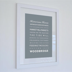 Woodbridge Typographic Travel Print- Coastal Wall Art /Poster-SeaKisses