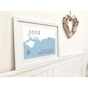 Worthing Map Travel Print- Coastal Wall Art /Poster-SeaKisses