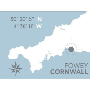 Fowey Nautical Map Print - Coastal Wall Art /Poster-SeaKisses