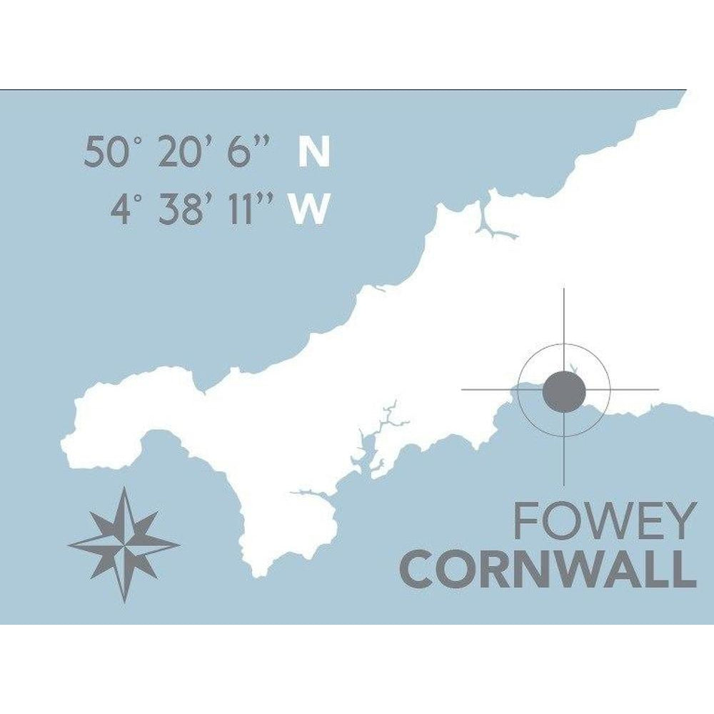 Fowey Nautical Map Print - Coastal Wall Art-SeaKisses