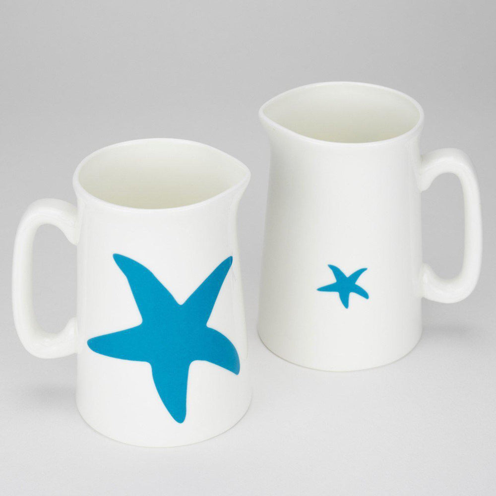 Starfish Jug - 1/2 Pint Coastal Design fine bone china aqua colour