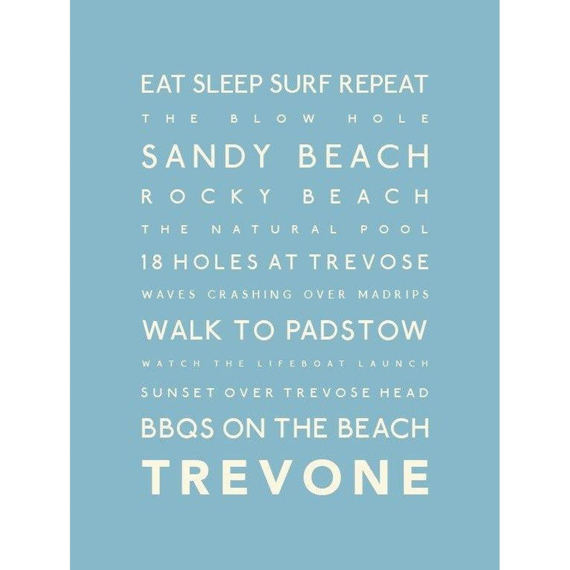 Trevone Typographic Travel and Seaside Print by SeaKisses