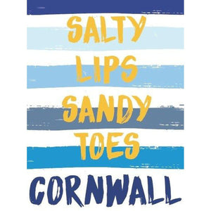 Cornwall Stripes Typographic Coastal Wall Art by SeaKisses