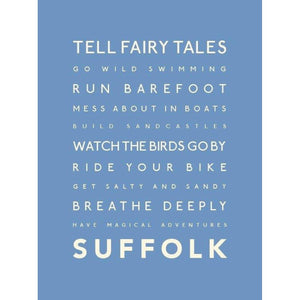 Suffolk Typographic Travel Print- Coastal Wall Art /Poster-SeaKisses