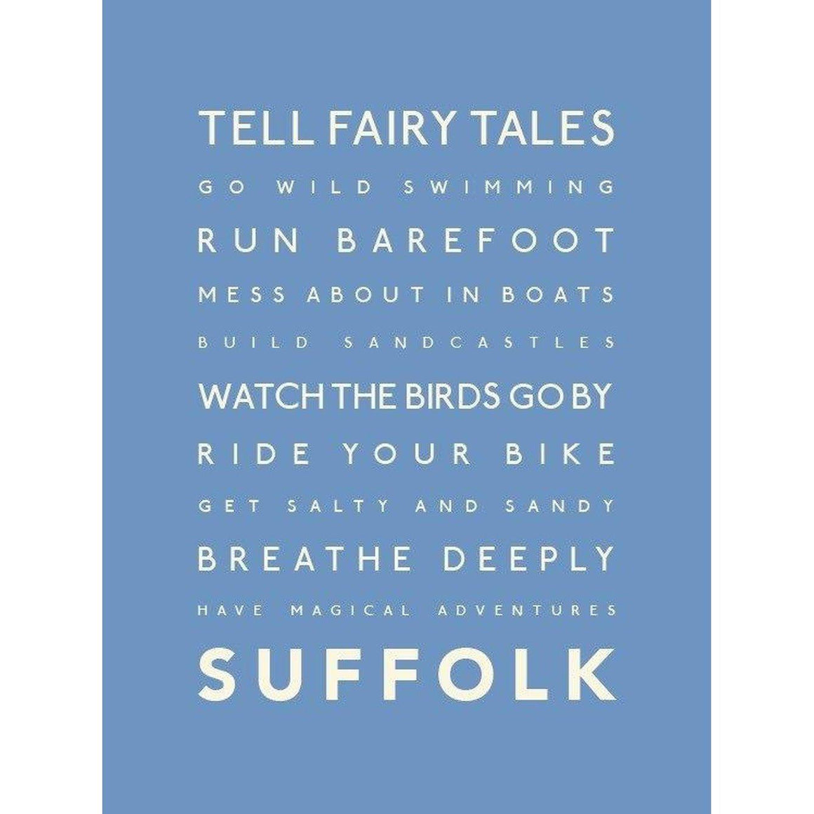 Suffolk Typographic Travel Print- Coastal Wall Art-SeaKisses
