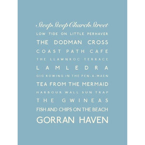 Gorran Haven Typographic Travel Print- Coastal Wall Art /Poster-SeaKisses