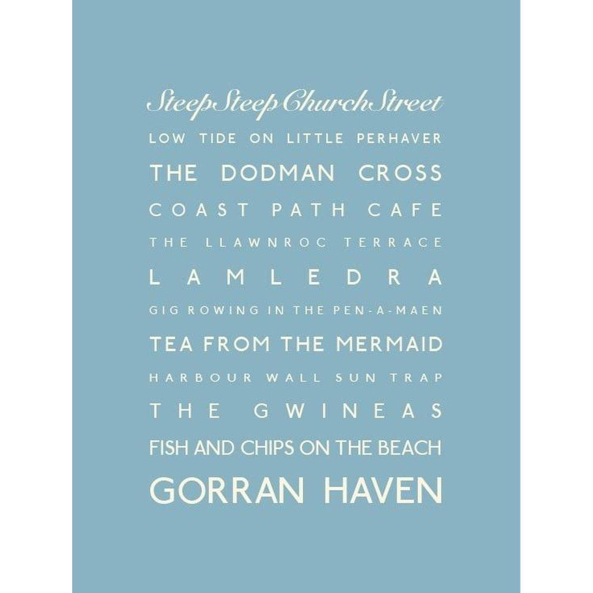 Gorran Haven Typographic Travel Print- Coastal Wall Art-SeaKisses