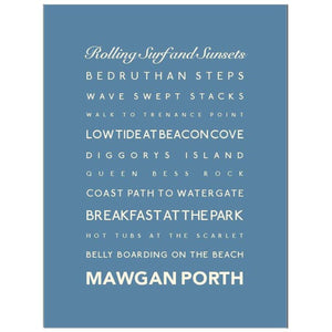 Mawgan Porth Typographic Travel and Seaside Print by SeaKisses