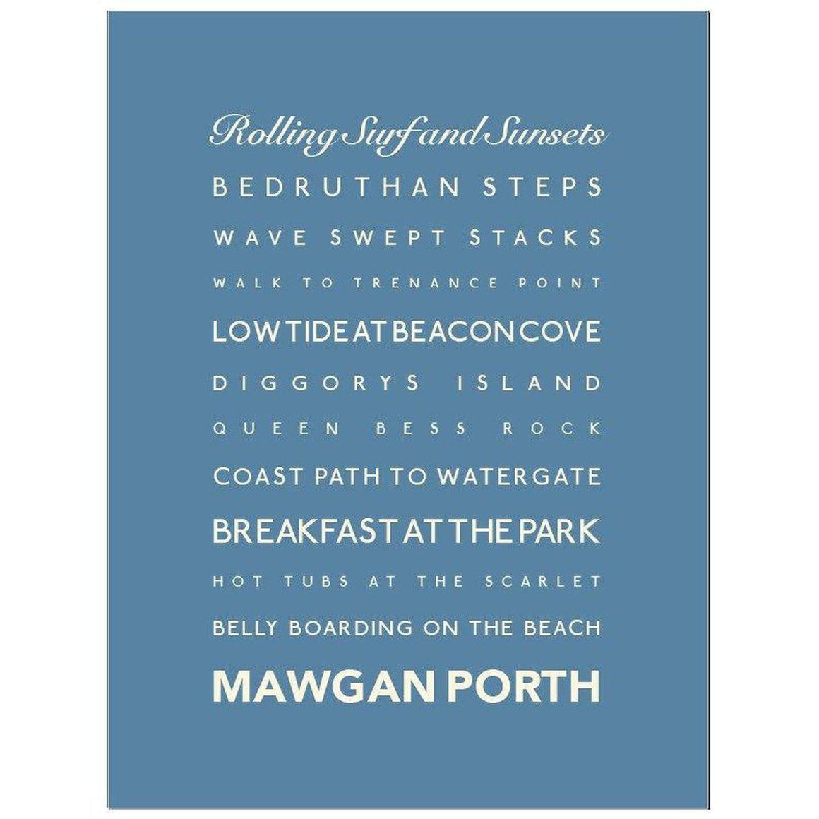 Mawgan Porth Typographic Travel Print- Coastal Wall Art-SeaKisses