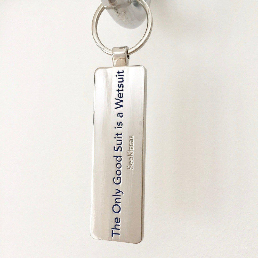 Key Ring The Only Good Suit is a Wetsuit Chunky Metal by SeaKisses