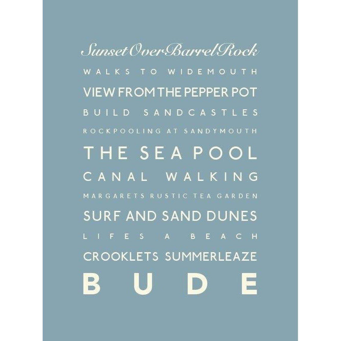 Bude Typographic Travel Print/Poster Seaside Coastal Wall Art by SeaKisses