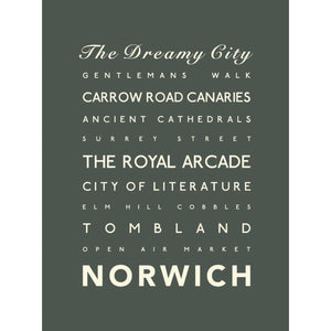 Norwich Typographic Travel Print/Poster Seaside Art by SeaKisses