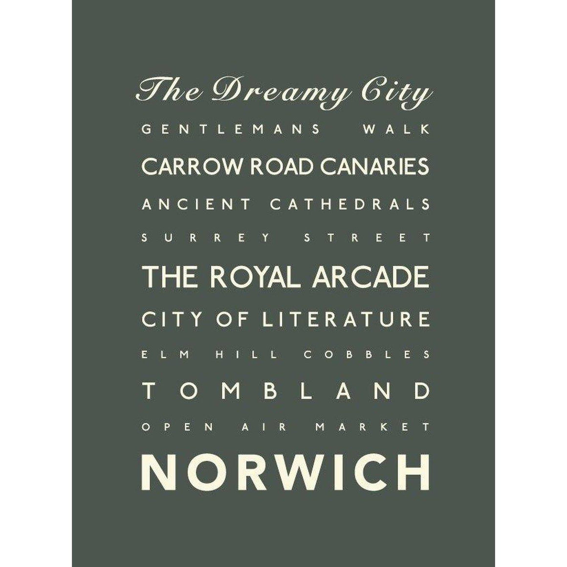 Norwich Typographic Travel Print- Coastal Wall Art