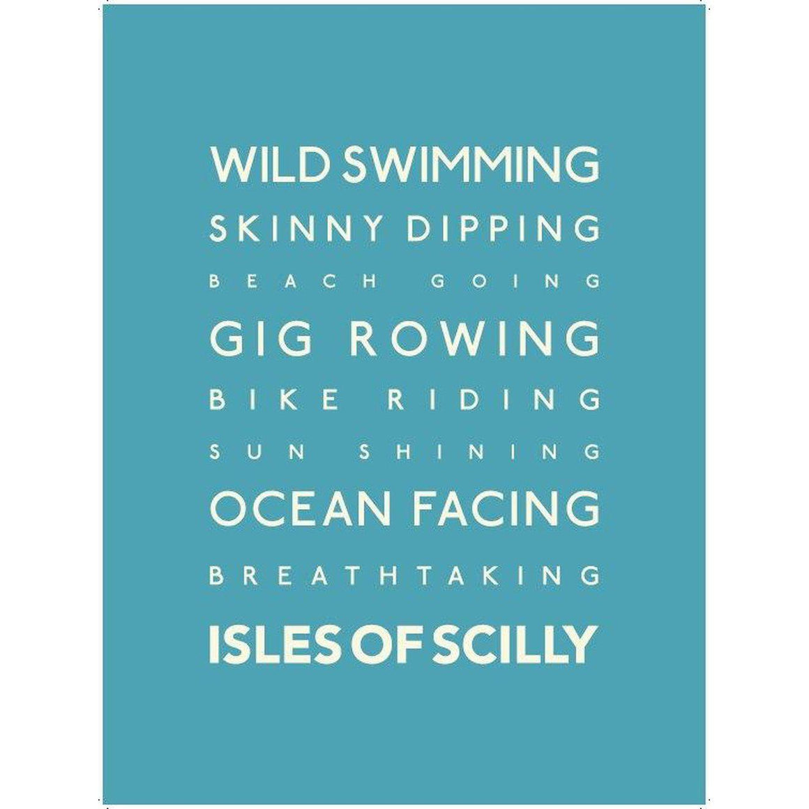 Isles of Scilly Typographic Travel Print/Poster Seaside Art by SeaKisses