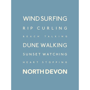 North Devon Typographic Travel print- Coastal Wall Art-SeaKisses