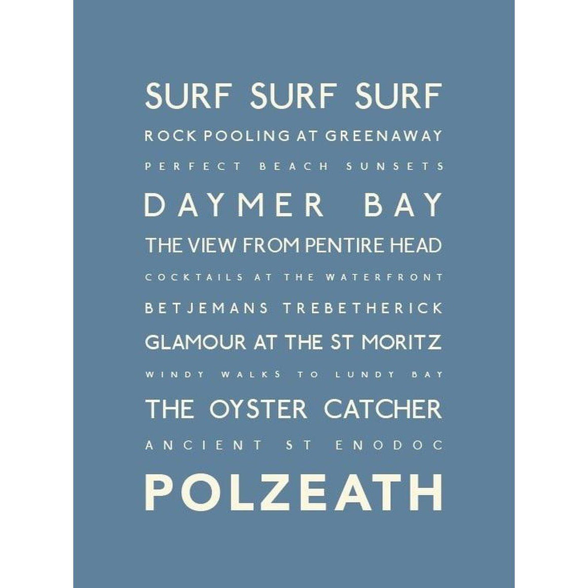 Polzeath Typographic Travel Print- Coastal Wall Art-SeaKisses