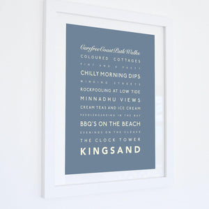 Kingsand Typographic Travel Print- Coastal Wall Art /Poster-SeaKisses
