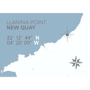 Llanina Point, New Quay Map Seaside Print - Coastal Wall Art /Poster-SeaKisses