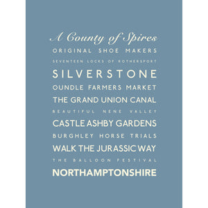 Northamptonshire Typographic Print - County Wall Art /Poster-SeaKisses
