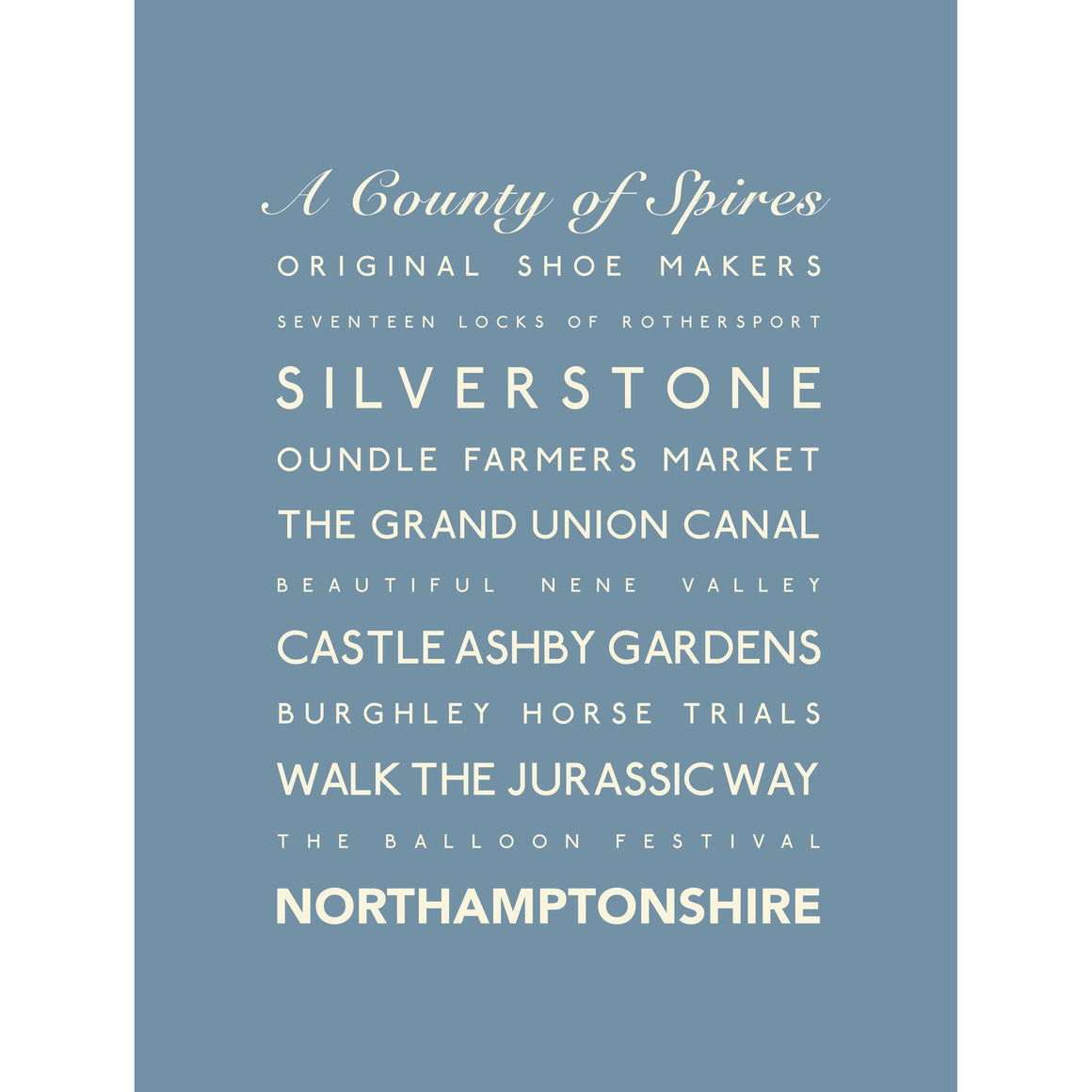 Northamptonshire Typographic Print - County Wall Art-SeaKisses