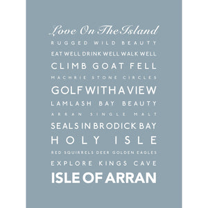 Isle of Arran Typographic Print- Coastal Wall Art /Poster-SeaKisses