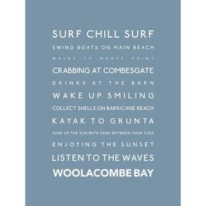 Woolacombe Typographic Travel Print - Coastal Wall Art /Poster-SeaKisses