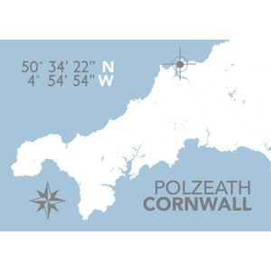 Polzeath Map Print- Coastal Wall Art /Poster-SeaKisses