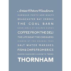 Thornham Typographic Travel Print- Coastal Wall Art /Poster-SeaKisses