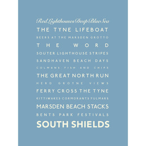 South Shields Typographic Seaside Print - Coastal Wall Art /Poster-SeaKisses