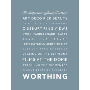 Worthing Typographic Print- Coastal Wall Art /Poster-SeaKisses
