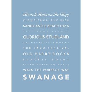 Swanage Typographic Travel Print- Coastal Wall Art /Poster-SeaKisses