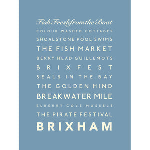 Brixham Typographic Seaside Print - Coastal Wall Art /Poster-SeaKisses