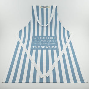 Coastal Cooks Apron Blue and White Stripe Design by SeaKisses