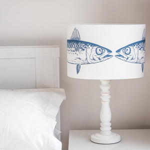 Kissing Fish Oval Blue and White Lamp Shade by SeaKisses