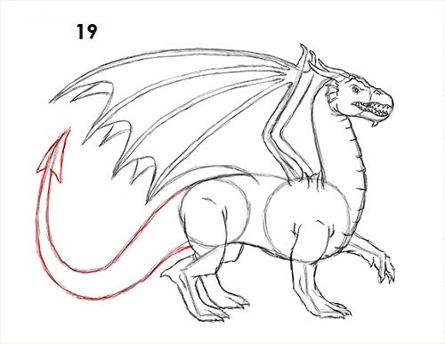 Etape 19 dessiner un dragon