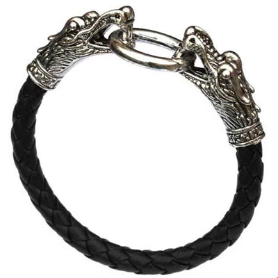Bracelet Double Dragon & Cuir Tibétain - Dragonys